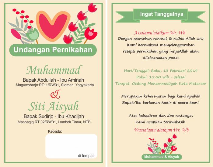 2. Contoh Surat Undangan Pernikahan Sederhana