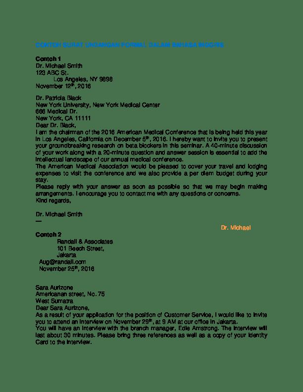 2. Contoh Surat Undangan Seminar Dalam Bahasa Inggris