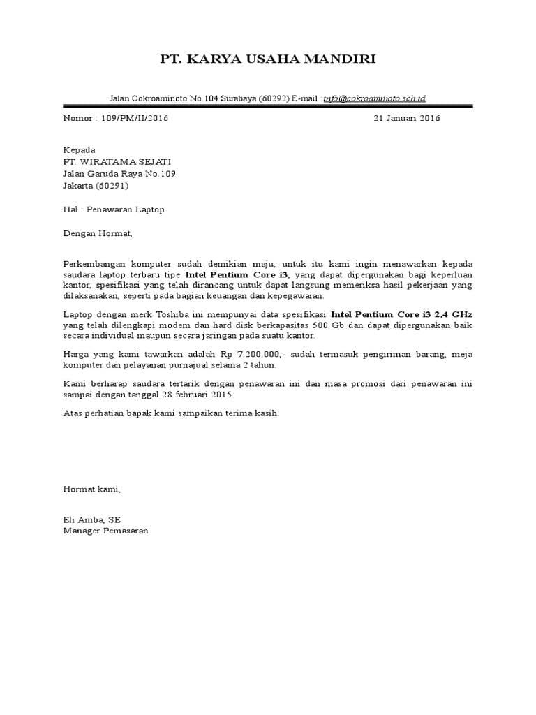 3. Contoh Surat Penawaran Barang Elektronik Full Block Style