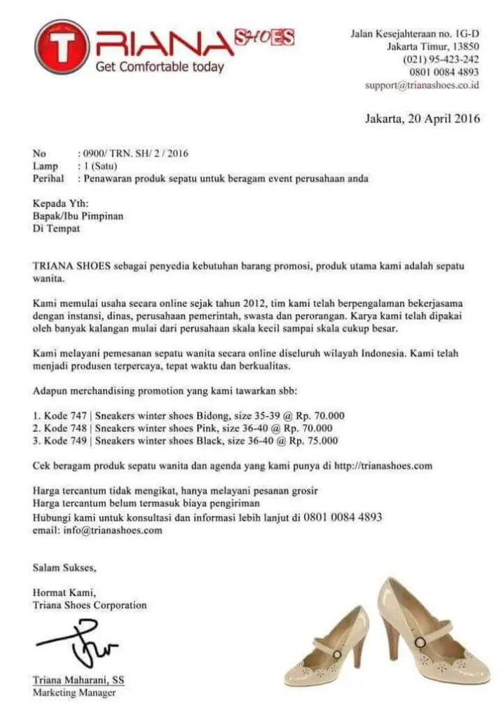 3. Contoh Surat Penawaran Produk Sepatu