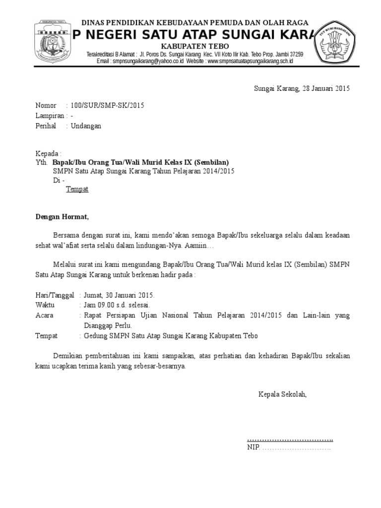 3. Contoh Surat Undangan Rapat Sekolah Internal