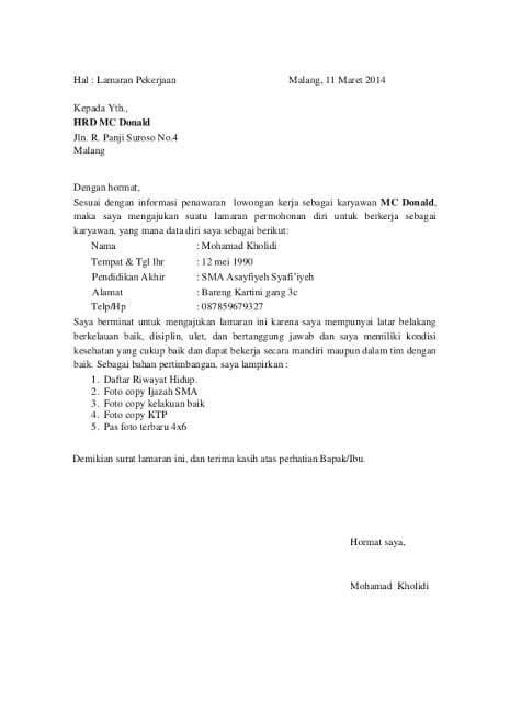 4. Contoh Surat Lamaran Kerja Di Hotel Bagian Waiter Waitress