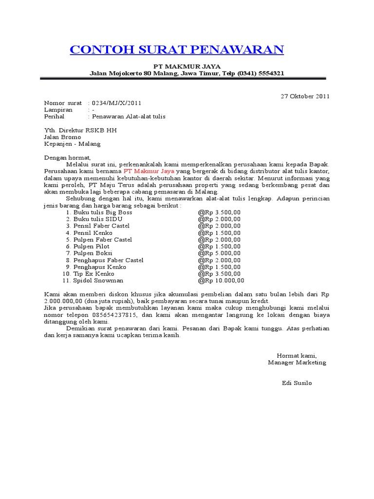5. Contoh Surat Penawaran Barang ATK Alat Tulis Kantor