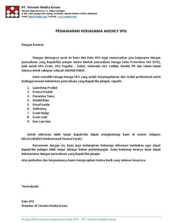 6. Contoh Surat Penawaran Barang Furniture Kantor