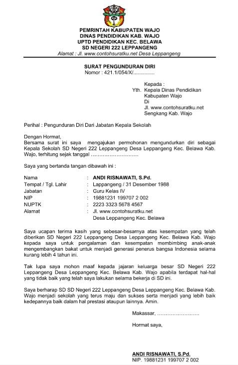 6. Contoh Surat Pengunduran Diri Kepala Sekolah