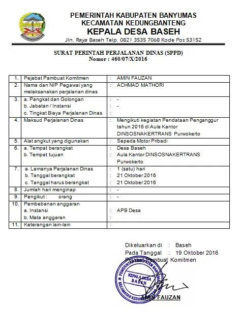 7. Contoh Format Surat Perintah Perjalanan DinasSPPD