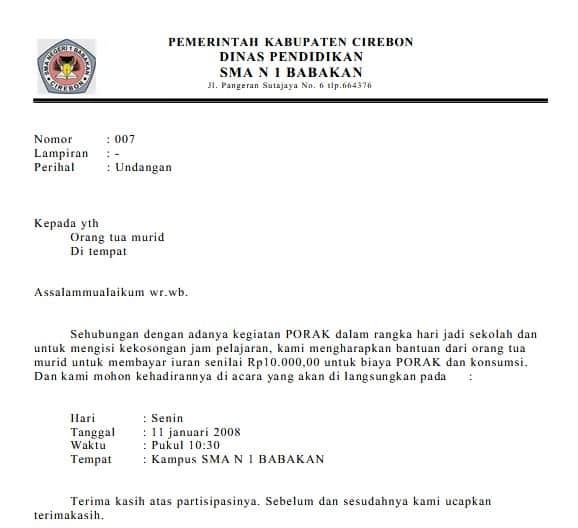 7. Contoh Format Surat Undangan Dinas