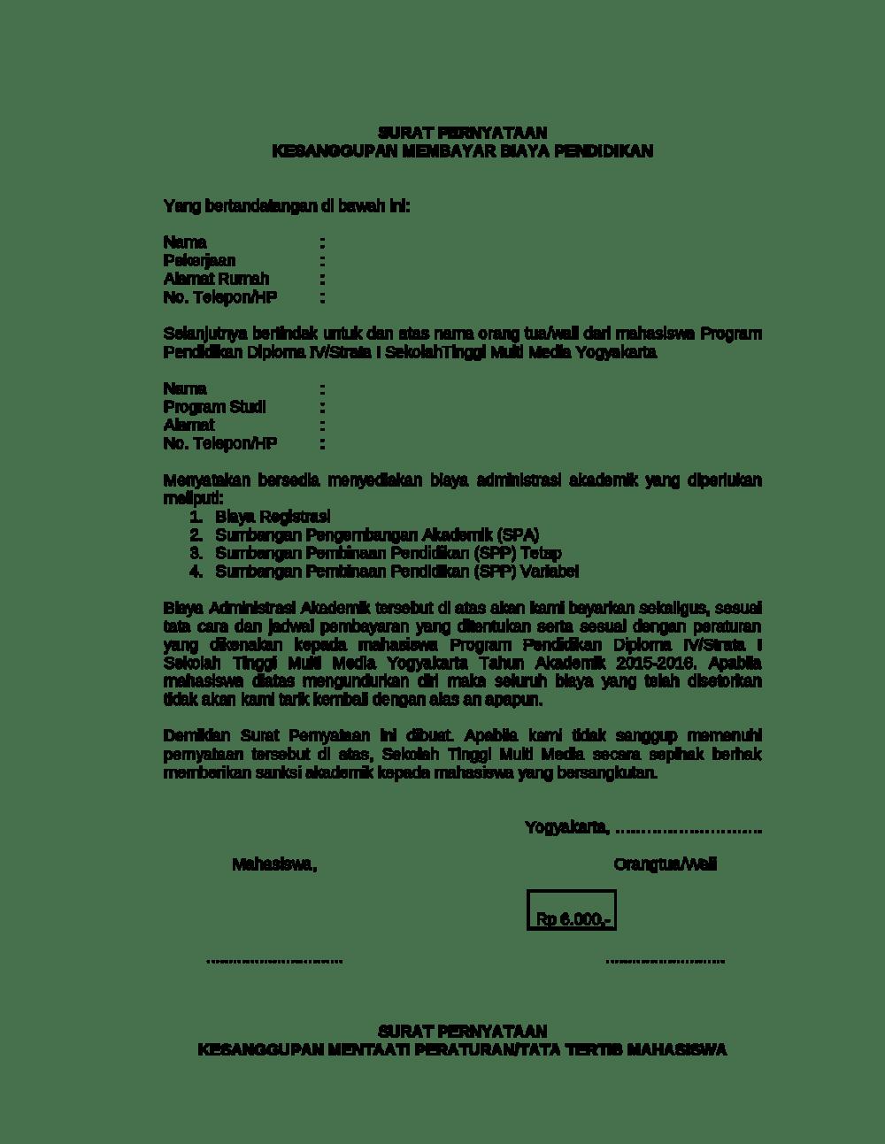 7. Contoh Pernyataan Kesanggupan Membayar Hutang