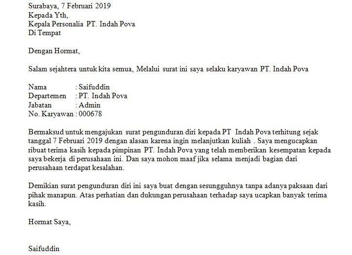 7. Contoh Surat Pengunduran Diri Dari Jabatan