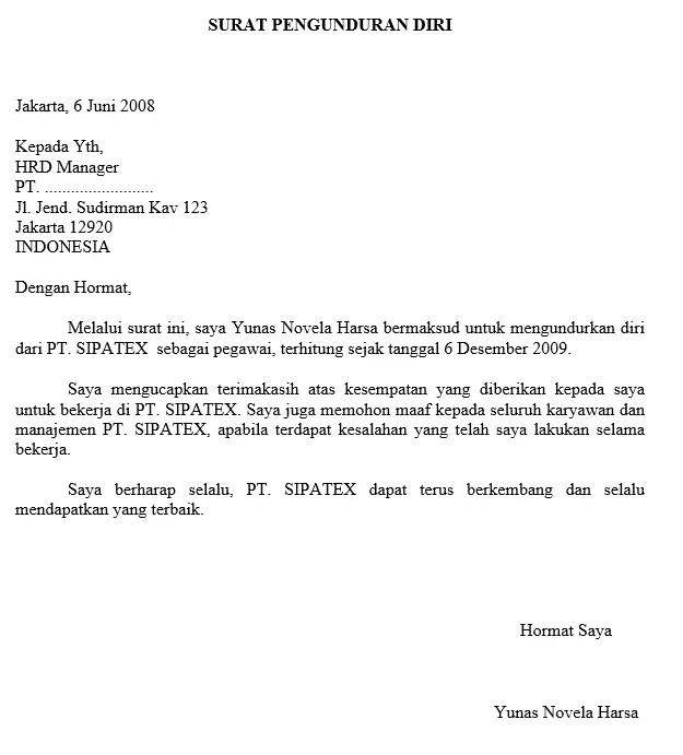 8. Contoh Surat Resign Yang Baik Dan Benar