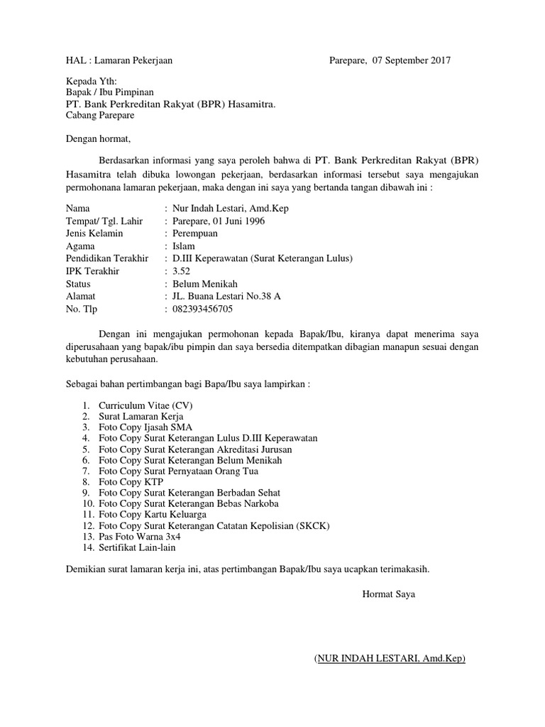 16 Contoh Surat Lamaran Kerja Di Bank Bri Bni Bca Dll Contoh Surat