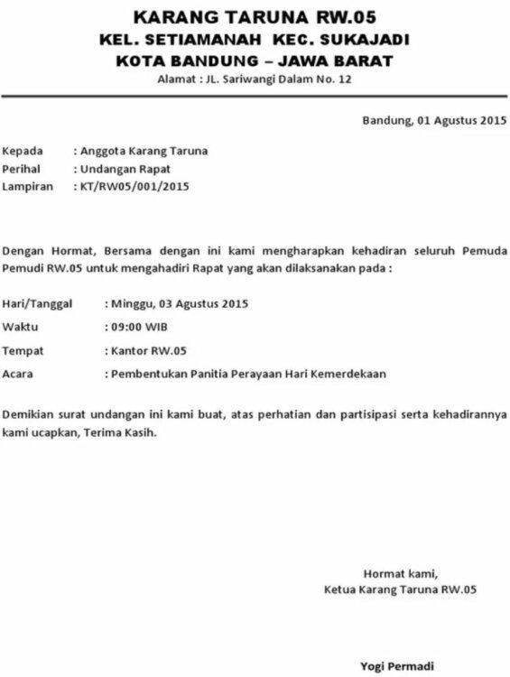 9. Contoh Surat Undangan Resmi 17 Agustus