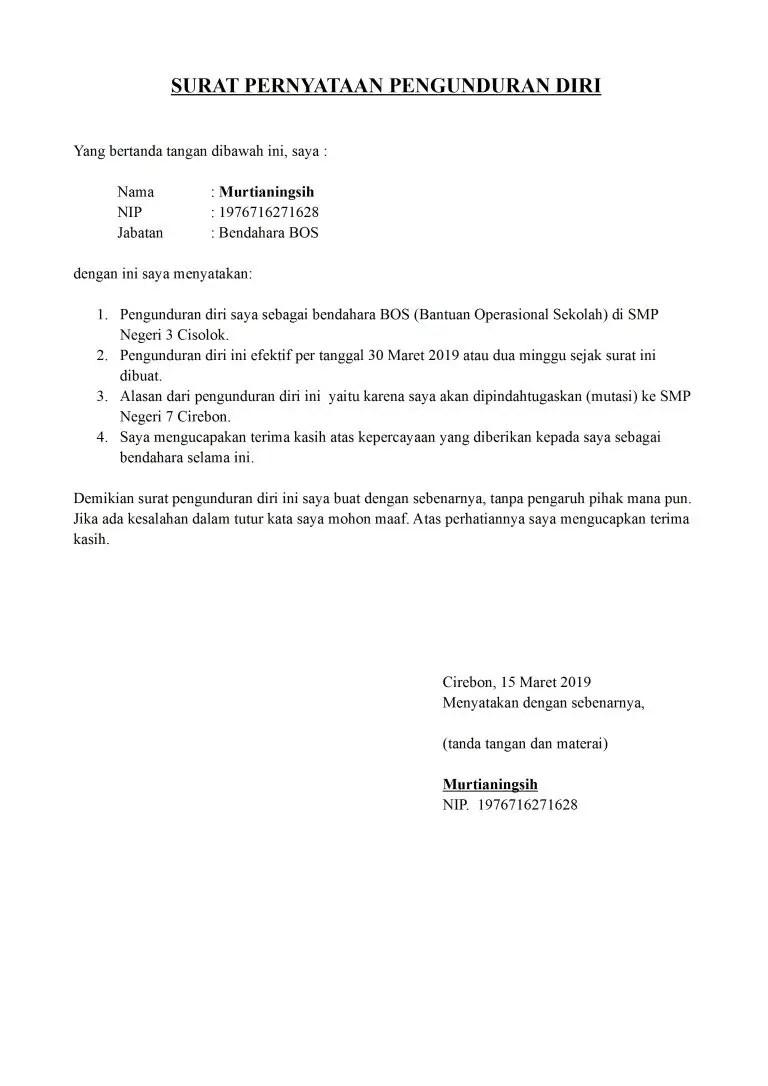 16 Contoh Surat Pengunduran Diri Dari Jabatan Lengkap ...
