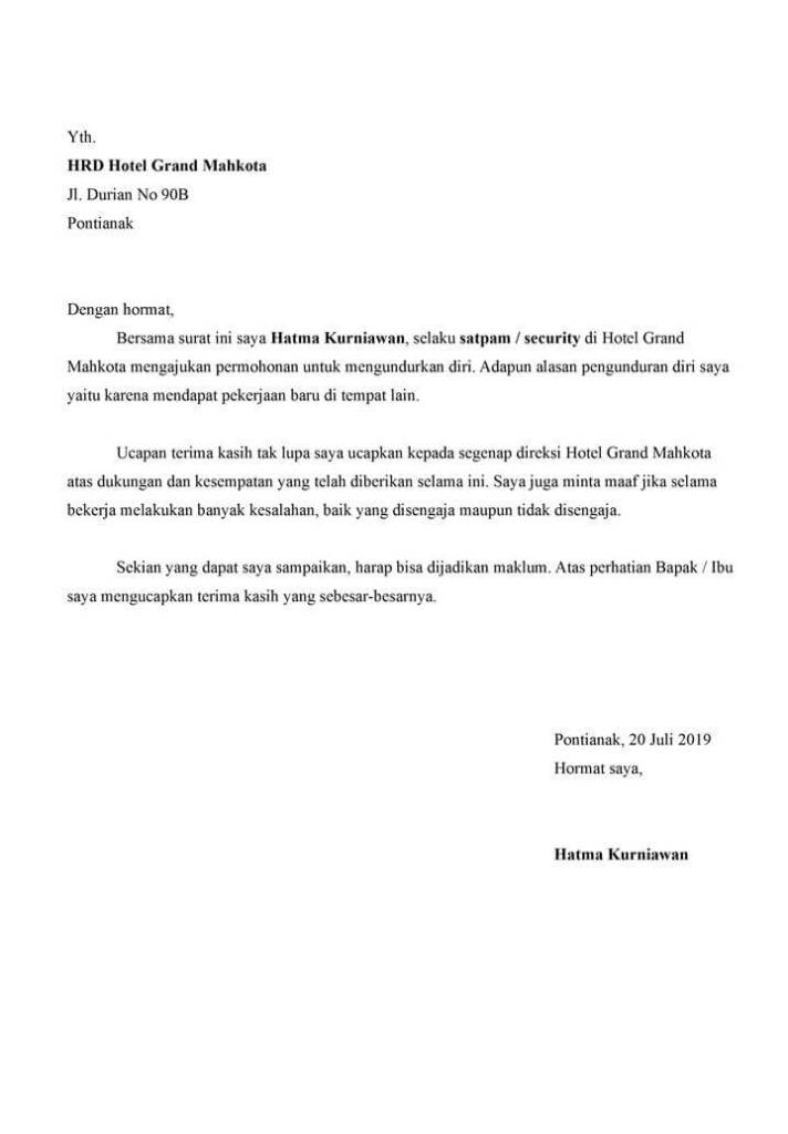 Contoh Surat Resign dari Hotel