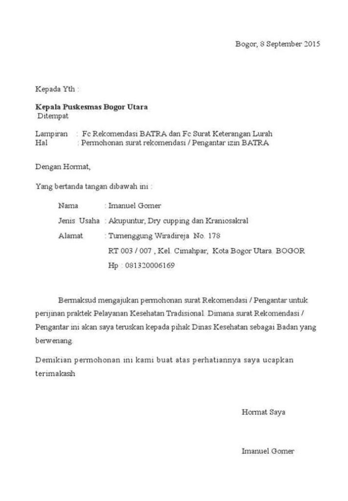 Surat Permohonan Rekomendasi Puskesmas