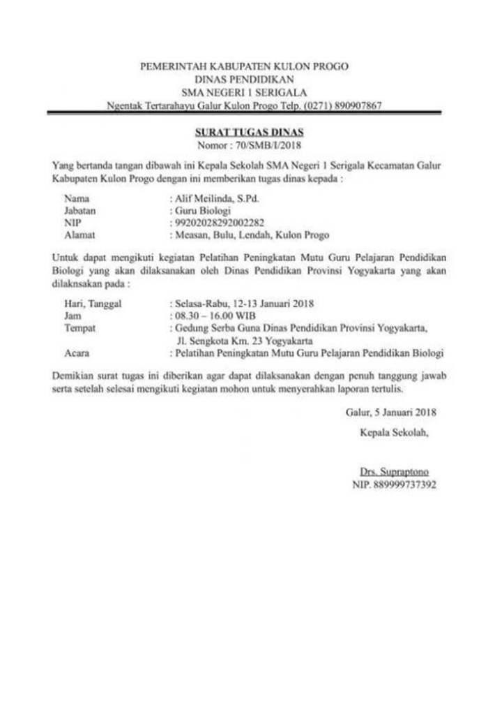 Surat Tugas dari Kepala Sekolah