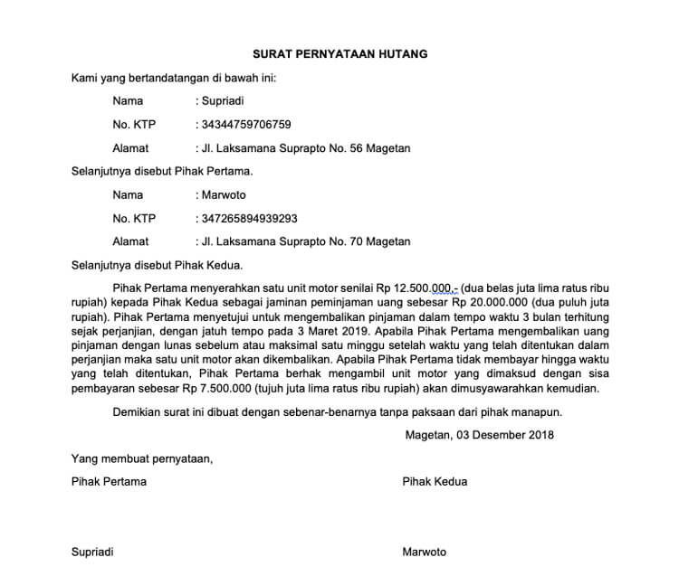 11. Contoh Surat Pernyataan Hutang Waktu Singkat