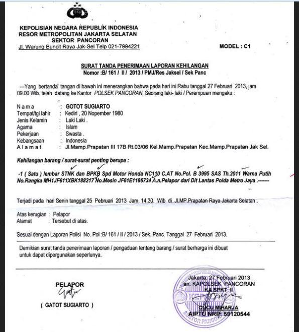 11. Contoh Surat Pernyataan Kehilangan STNK Kendaraan Bermotor