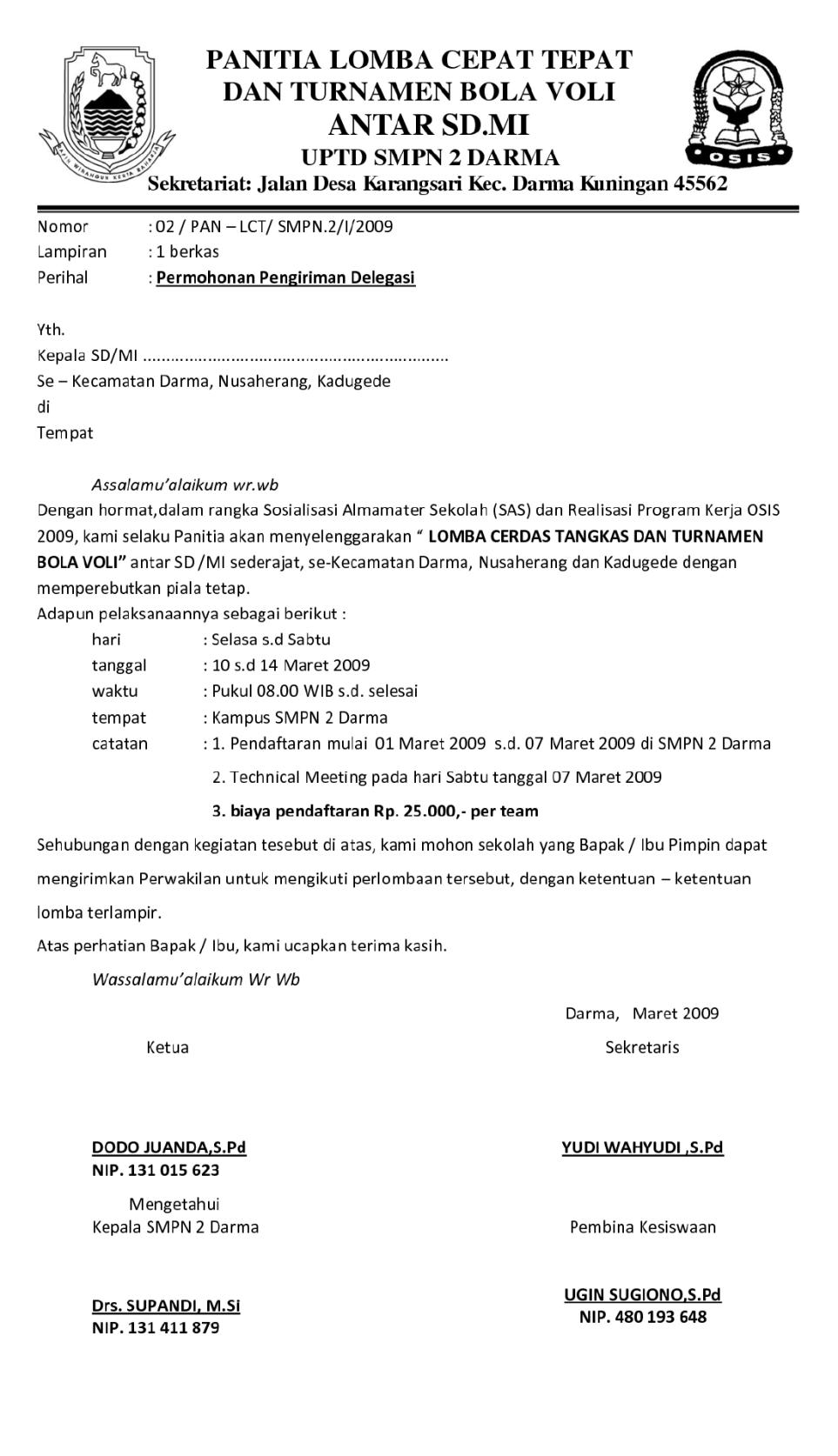 2. Contoh Surat Pemberitahuan Kegiatan Sekolah
