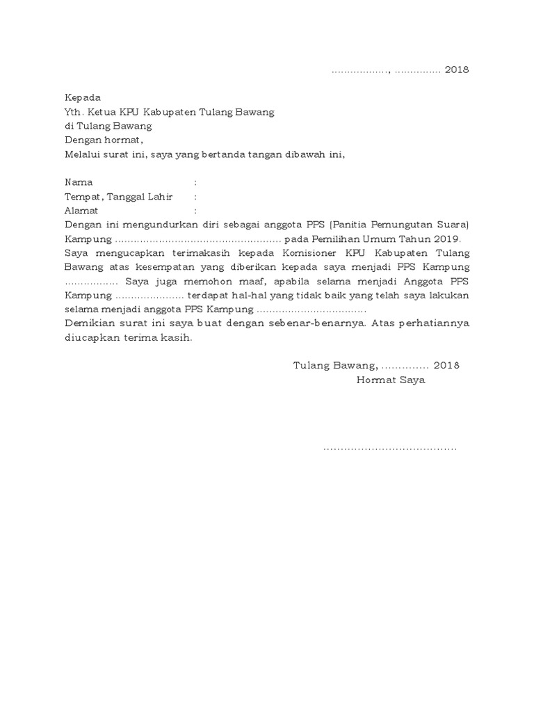 2. Contoh Surat Pernyataan Pengunduran Diri Anggota PPS Panitia Pemungutan Suara