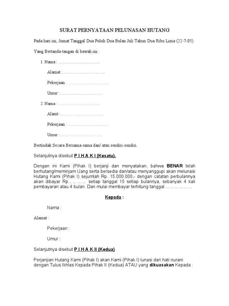 4. Contoh Surat Pernyataan Hutang