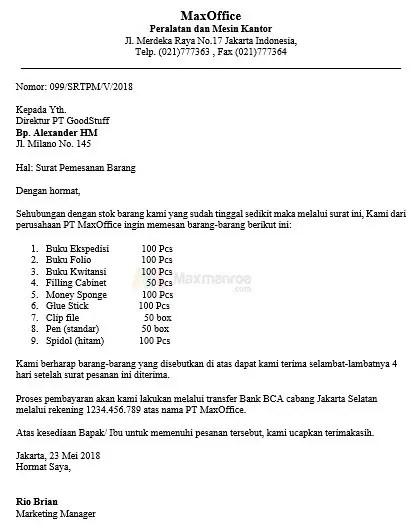 6. Contoh Surat Niaga Pesanan Jasa