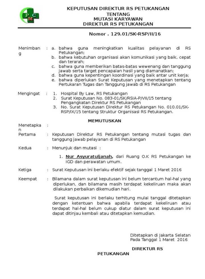 Contoh Surat Keputusan Mutasi Kerja