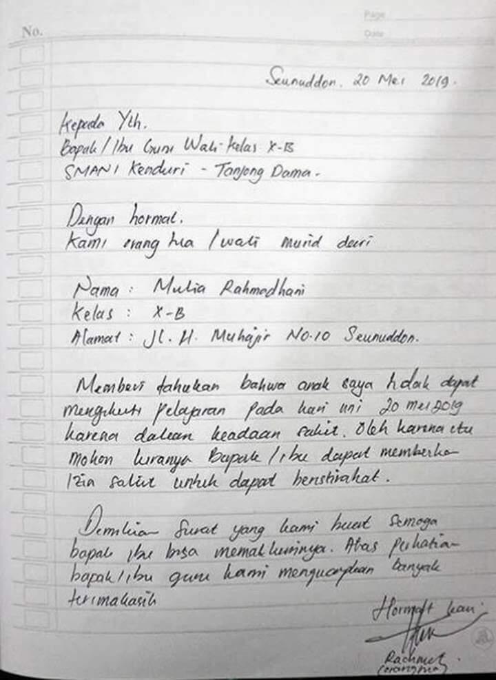 Surat Izin Sakit Tulisan Tangan