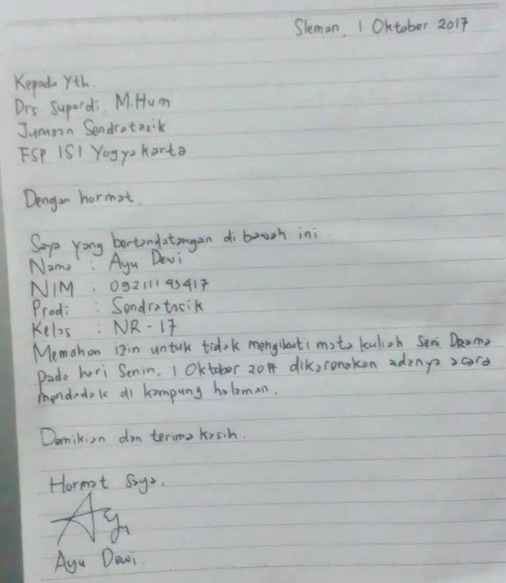 Surat Izin Tidak Masuk Kuliah Tulisan Tangan