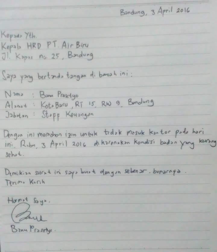 Surat Izin Tulisan Tangan