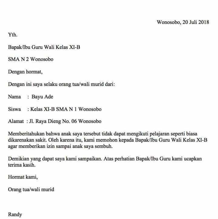 Surat Keterangan Sakit dari Orang Tua