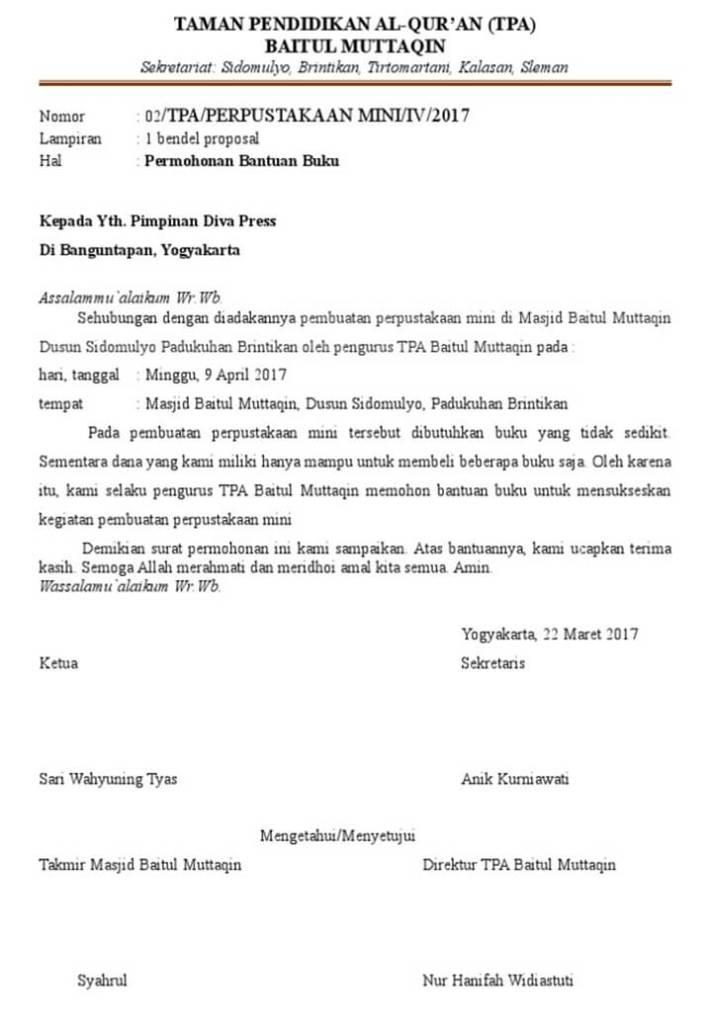 Surat Permohonan Bantuan Buku Perpustakaan