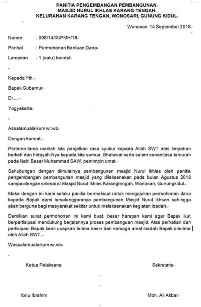 Surat Permohonan Bantuan Dana Pembangunan Masjid
