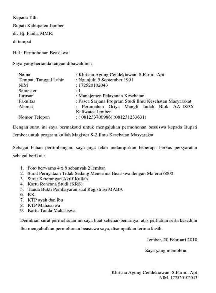Surat Permohonan Beasiswa Pemkab Jember