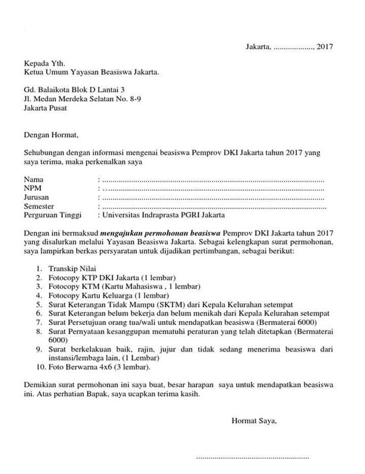 Surat Permohonan Beasiswa ke Yayasan