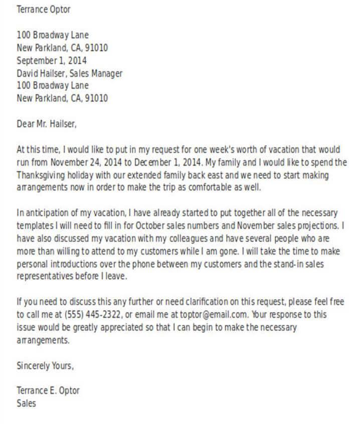 Surat Permohonan Cuti Bahasa Inggris