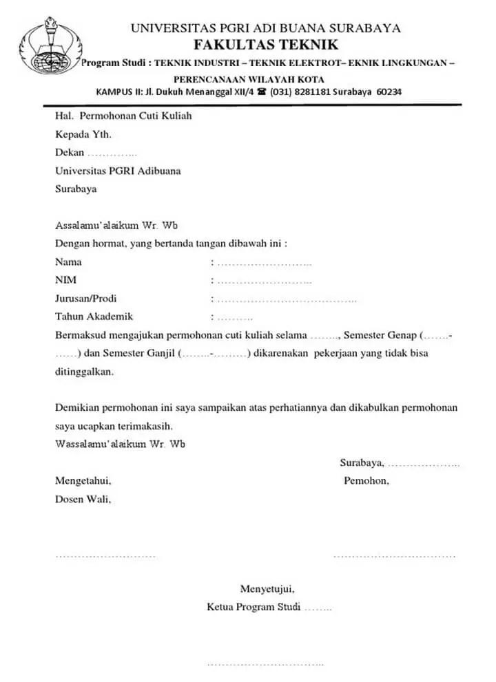 Surat Permohonan Cuti Kuliah