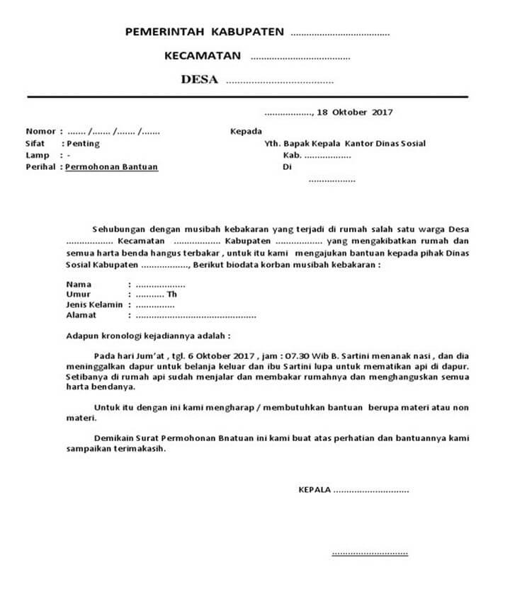 Surat Permohonan Dana Musibah Kebakaran
