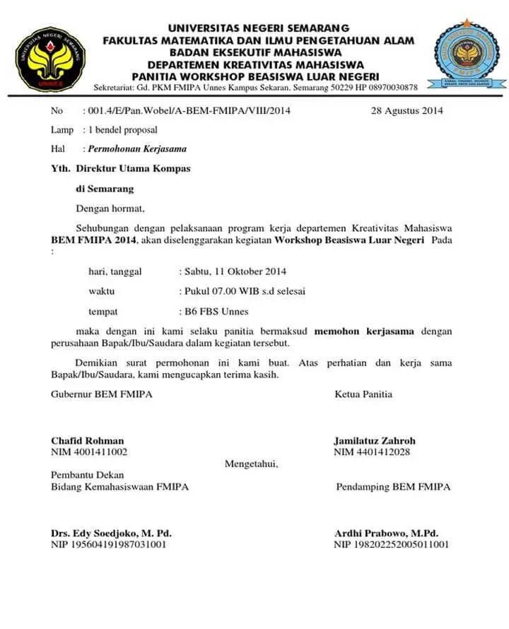 Surat Permohonan Kerjasama Pelatihan