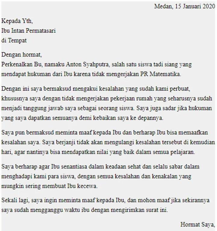 Surat Permohonan Maaf Kepada Guru