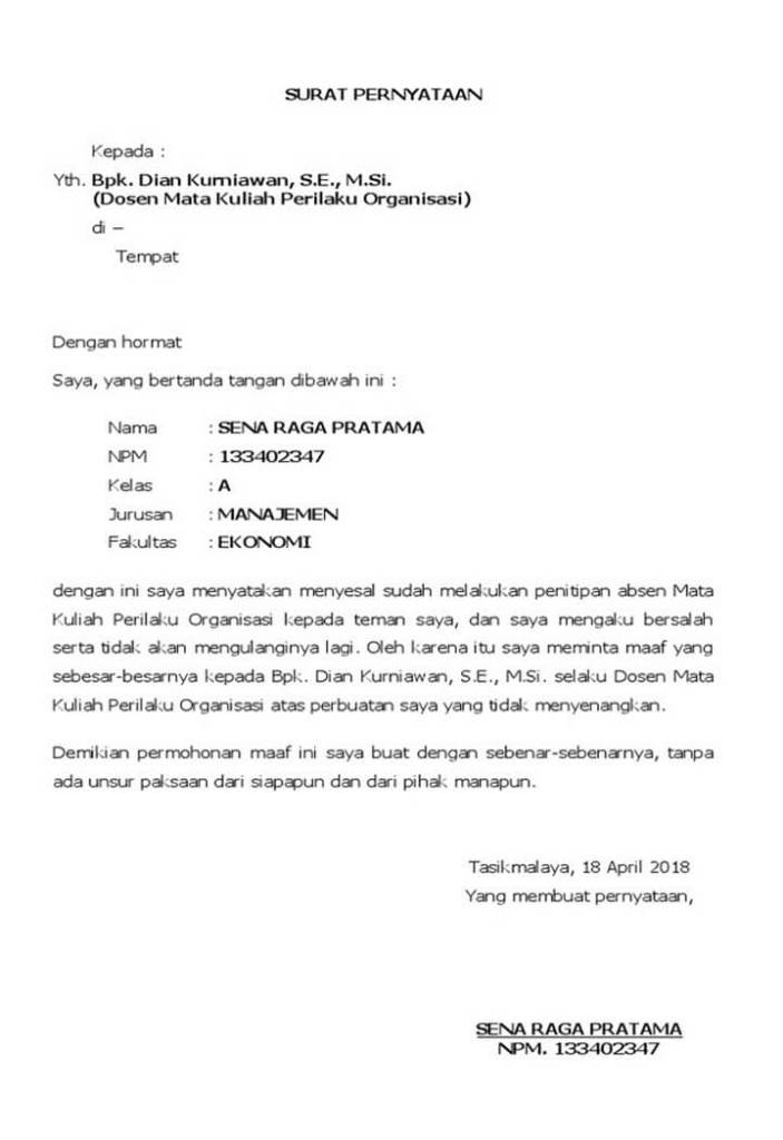 Surat Permohonan Maaf Mahasiswa Kepada Dosen