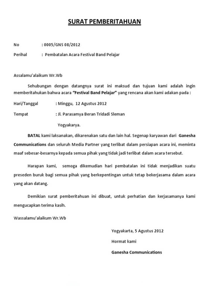 Surat Permohonan Maaf Pembatalan Acara