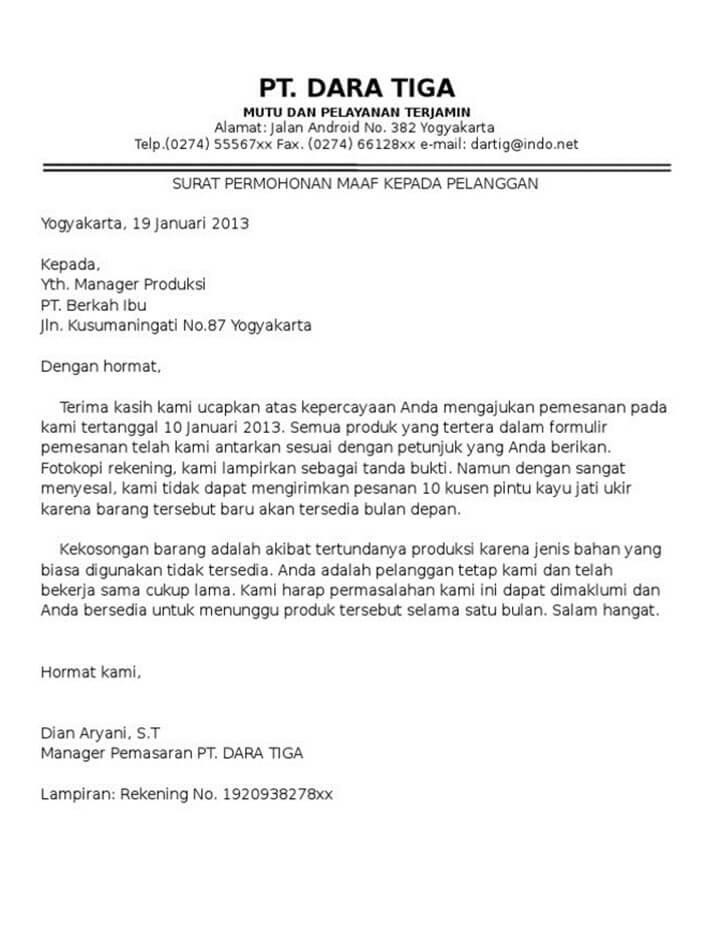 Surat Permohonan Maaf Perusahaan Kepada Pelanggan