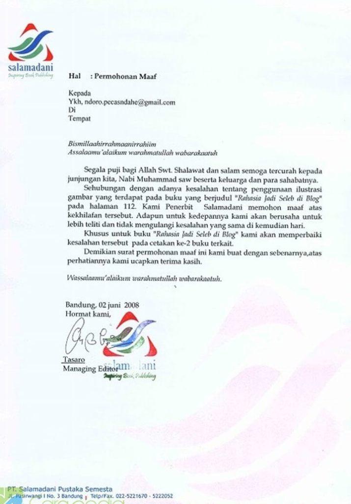 Surat Permohonan Maaf Perusahaan Percetakan