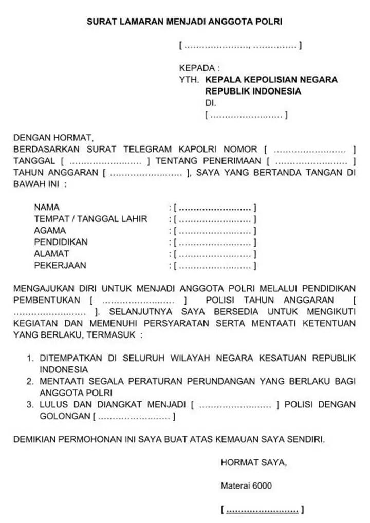 Surat Permohonan Menjadi Anggota Polri