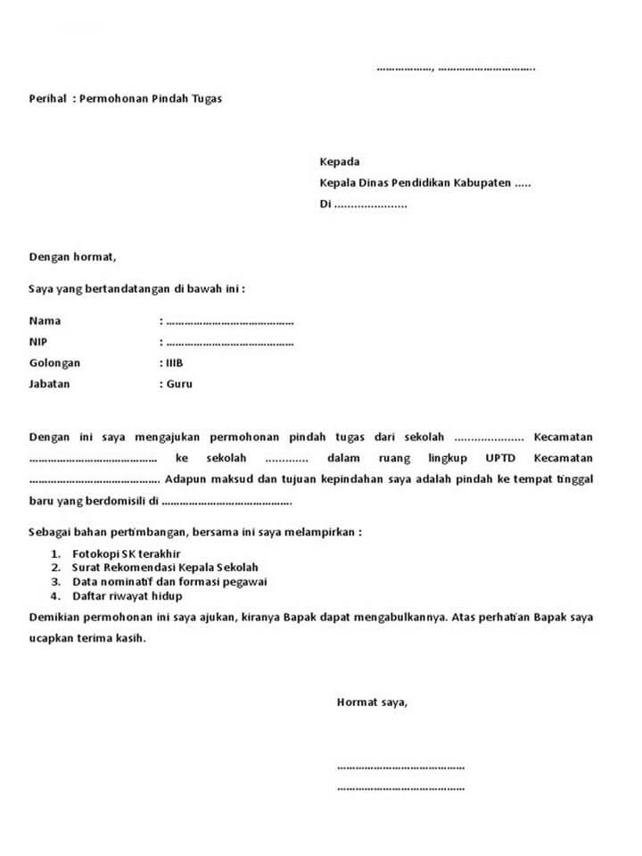 Surat Permohonan Pindah Sekolah Untuk Guru