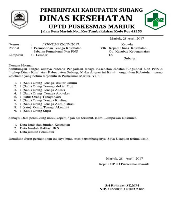 Surat Permohonan Resmi ke Dinas