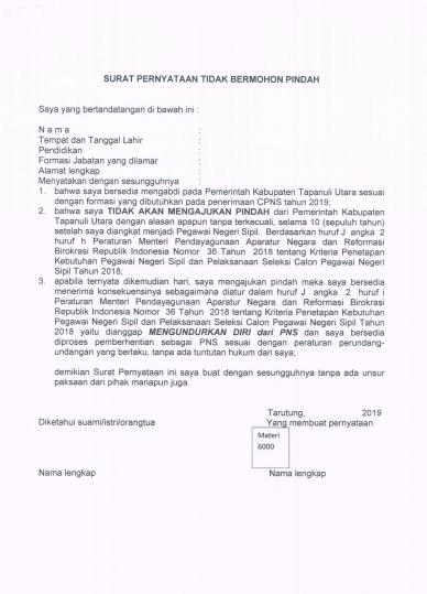 Contoh Surat Pernyataan CPNS 2