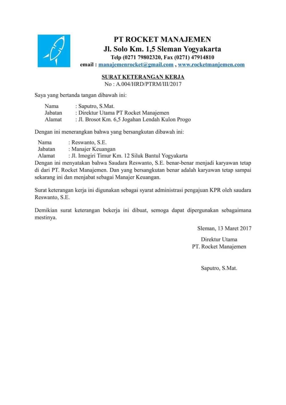 1. Contoh Surat Keterangan Kerja Untuk KPR
