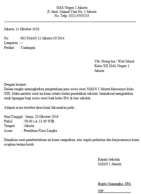 1. Contoh Surat Resmi Sekolah